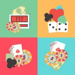 illustrations jeux de casino jetons cartes dés